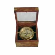 Brújula navegación caja cristal L: 12 cm - A: 12 cm